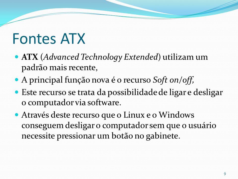 Fontes ATX ATX (Advanced Technology Extended) utilizam um padrão mais recente, A principal função nova é o recurso Soft on/off,