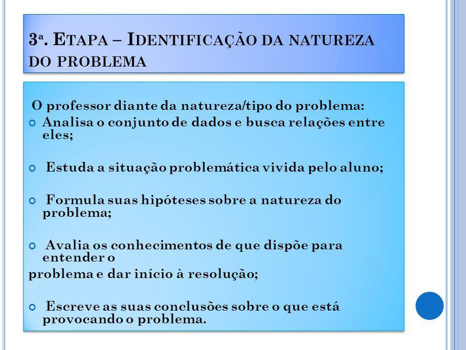 3ª. Etapa – Identificação da natureza do problema