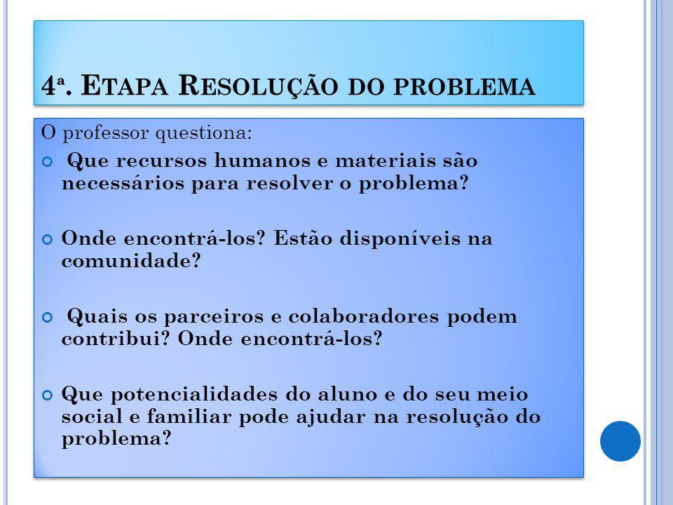 4ª. Etapa Resolução do problema