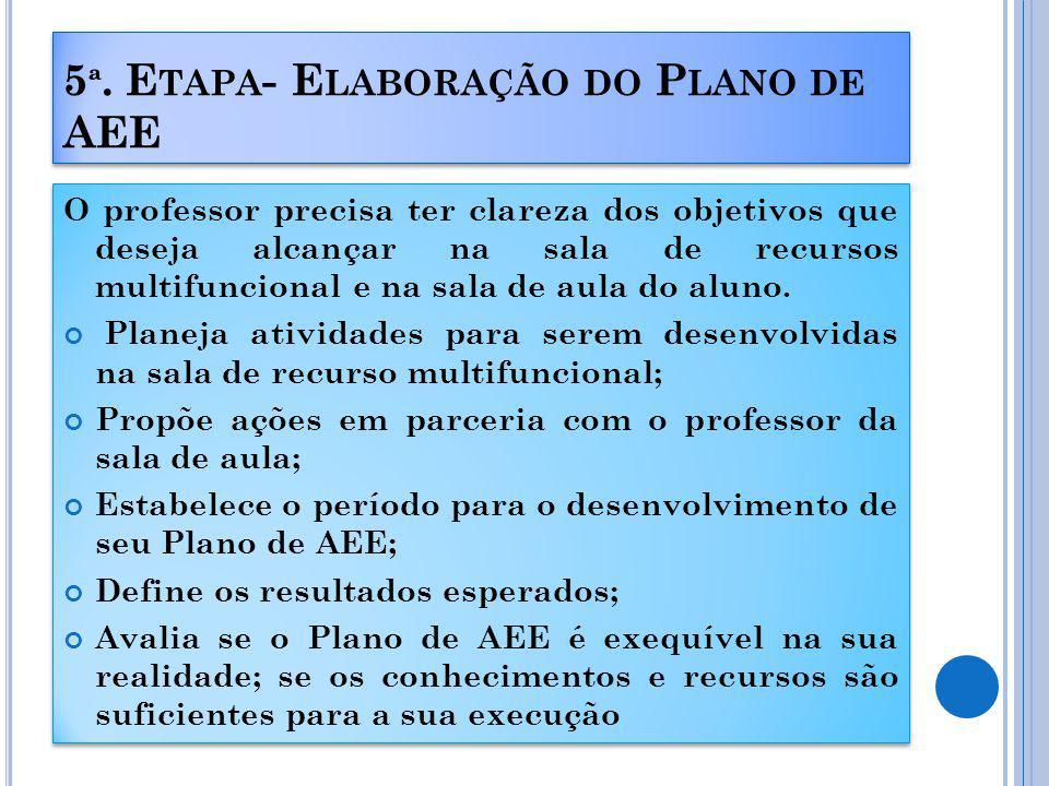 5ª. Etapa- Elaboração do Plano de AEE