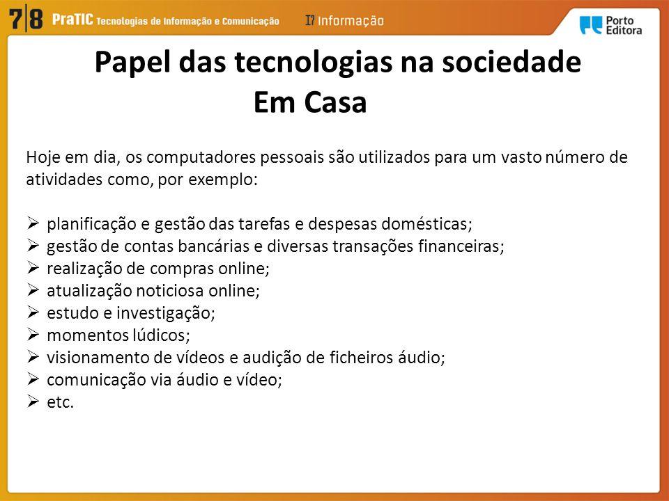 Papel das tecnologias na sociedade Em Casa