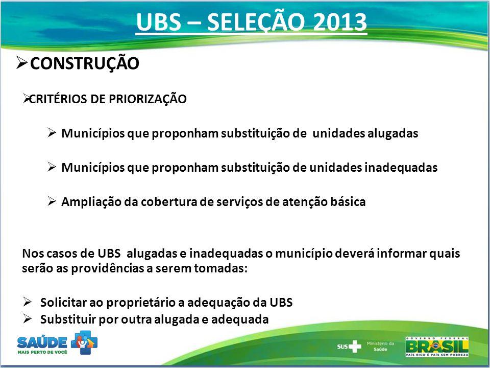 UBS – SELEÇÃO 2013 CONSTRUÇÃO CRITÉRIOS DE PRIORIZAÇÃO