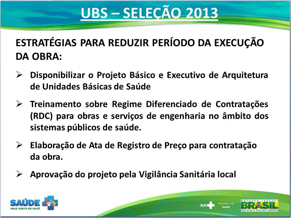 UBS – SELEÇÃO 2013 ESTRATÉGIAS PARA REDUZIR PERÍODO DA EXECUÇÃO DA OBRA: