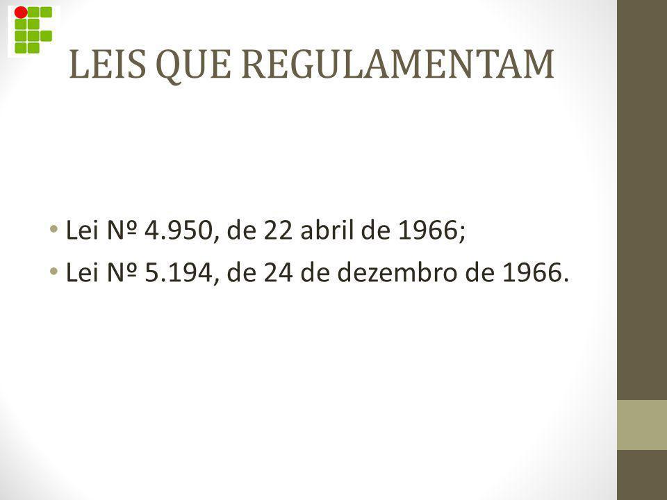 LEIS QUE REGULAMENTAM Lei Nº 4.950, de 22 abril de 1966;
