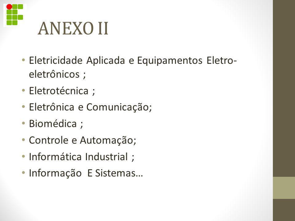 ANEXO II Eletricidade Aplicada e Equipamentos Eletro- eletrônicos ;