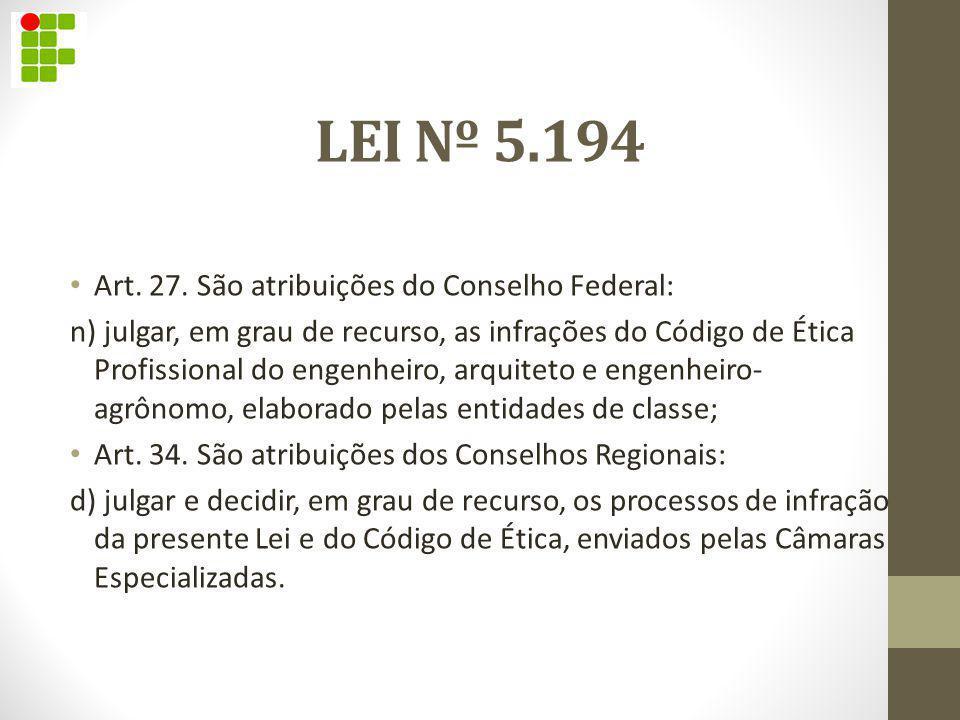 LEI Nº 5.194 Art. 27. São atribuições do Conselho Federal: