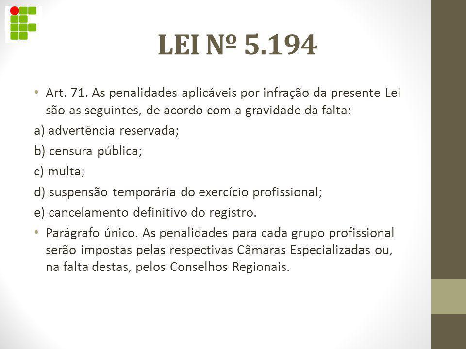 LEI Nº 5.194 Art. 71. As penalidades aplicáveis por infração da presente Lei são as seguintes, de acordo com a gravidade da falta: