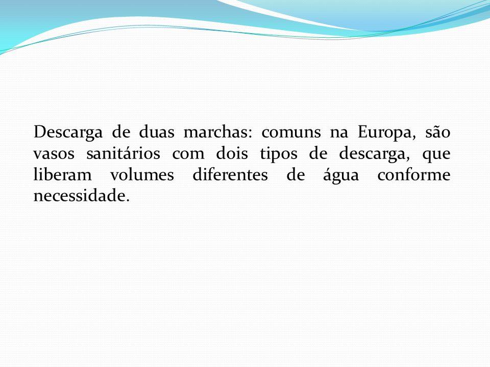 Descarga de duas marchas: comuns na Europa, são vasos sanitários com dois tipos de descarga, que liberam volumes diferentes de água conforme necessidade.