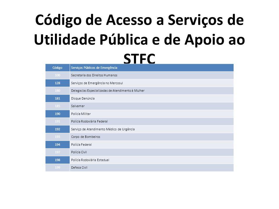 Código de Acesso a Serviços de Utilidade Pública e de Apoio ao STFC