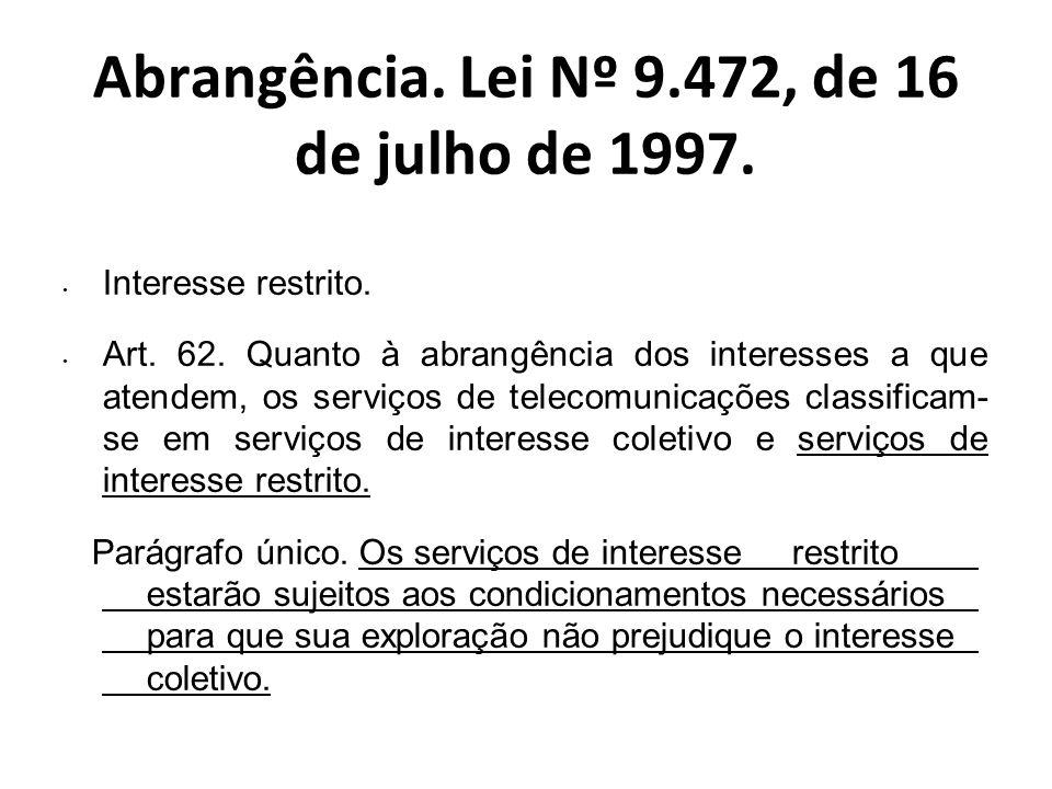 Abrangência. Lei Nº 9.472, de 16 de julho de 1997.
