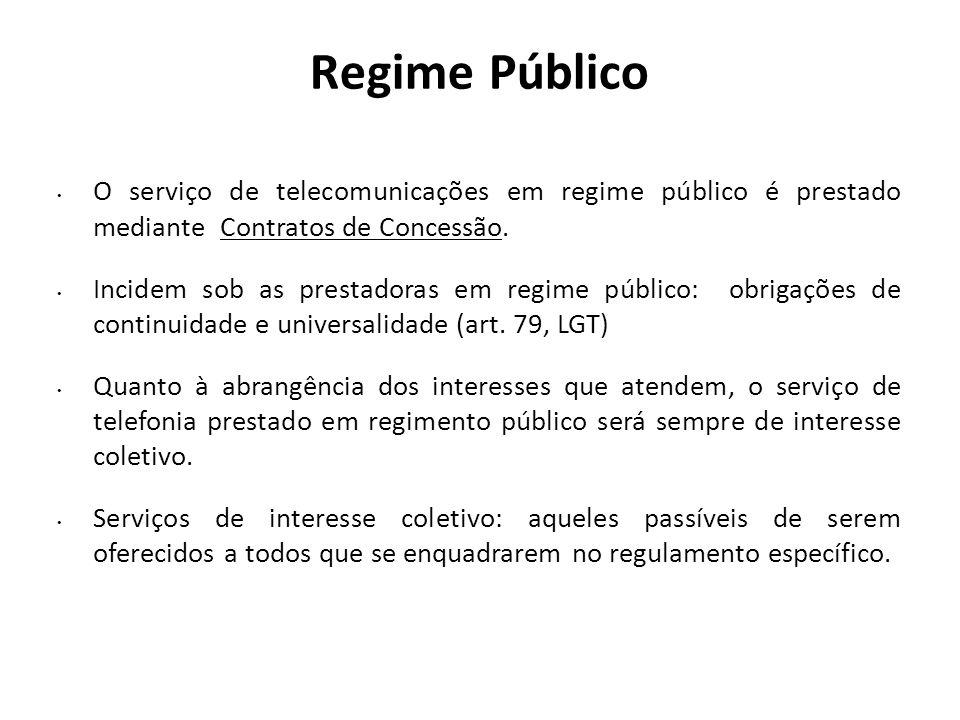 Regime Público O serviço de telecomunicações em regime público é prestado mediante Contratos de Concessão.