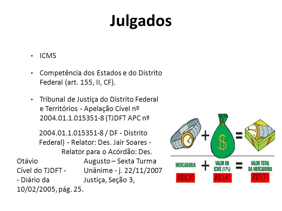 Julgados ICMS. Competência dos Estados e do Distrito Federal (art. 155, II, CF).