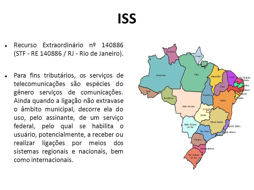 ISS Recurso Extraordinário nº 140886 (STF - RE 140886 / RJ - Rio de Janeiro).