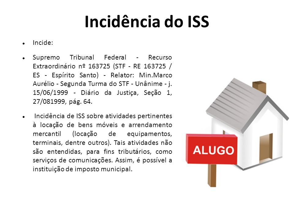 Incidência do ISS Incide: