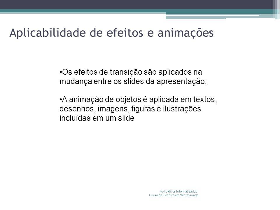 Aplicabilidade de efeitos e animações