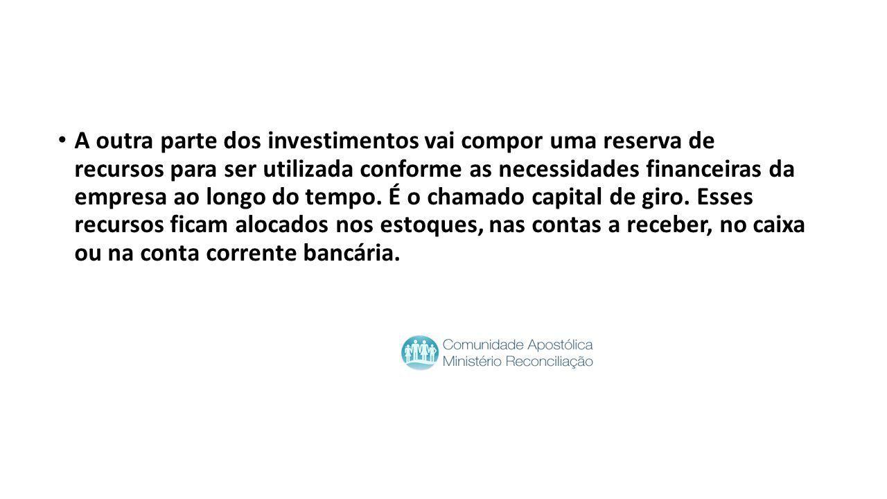 A outra parte dos investimentos vai compor uma reserva de recursos para ser utilizada conforme as necessidades financeiras da empresa ao longo do tempo.