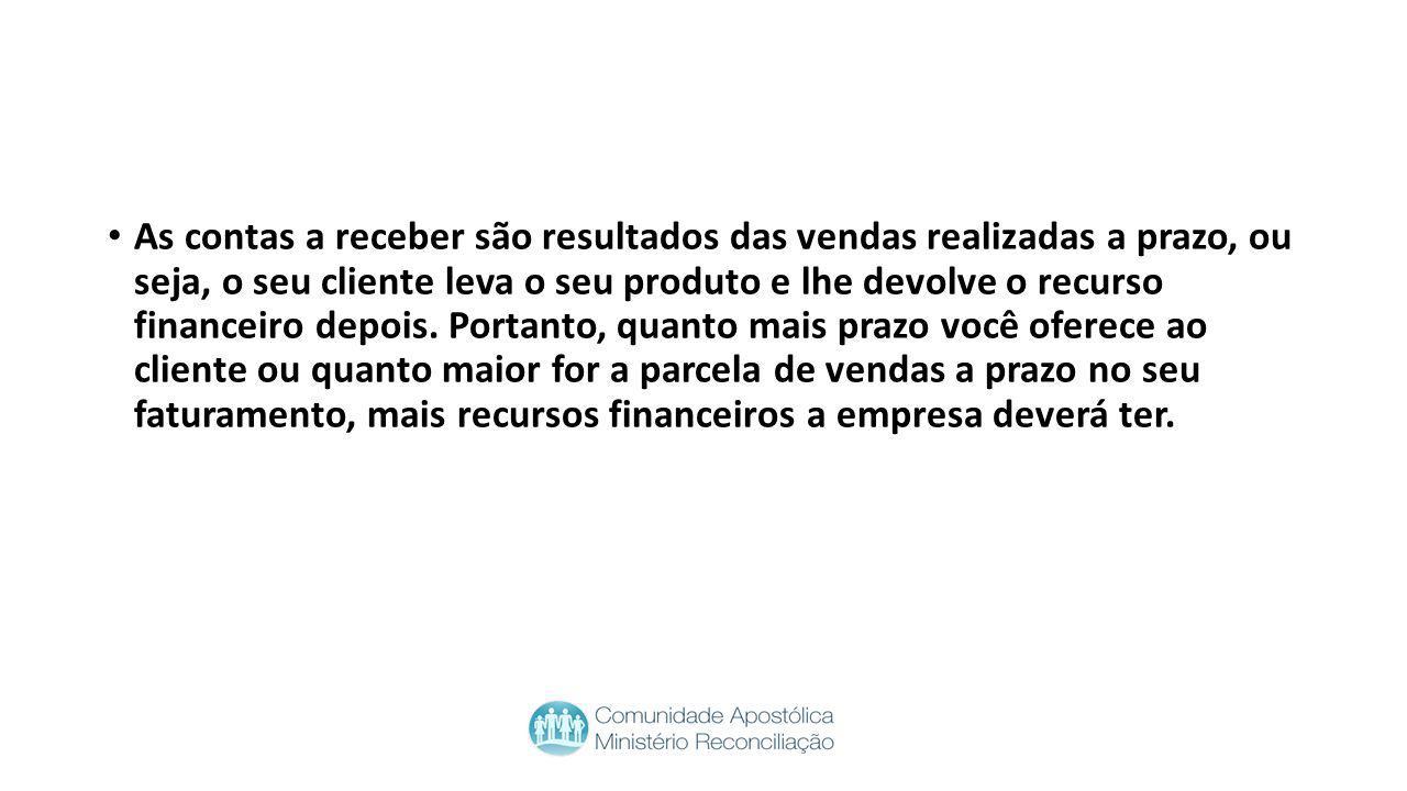 As contas a receber são resultados das vendas realizadas a prazo, ou seja, o seu cliente leva o seu produto e lhe devolve o recurso financeiro depois.