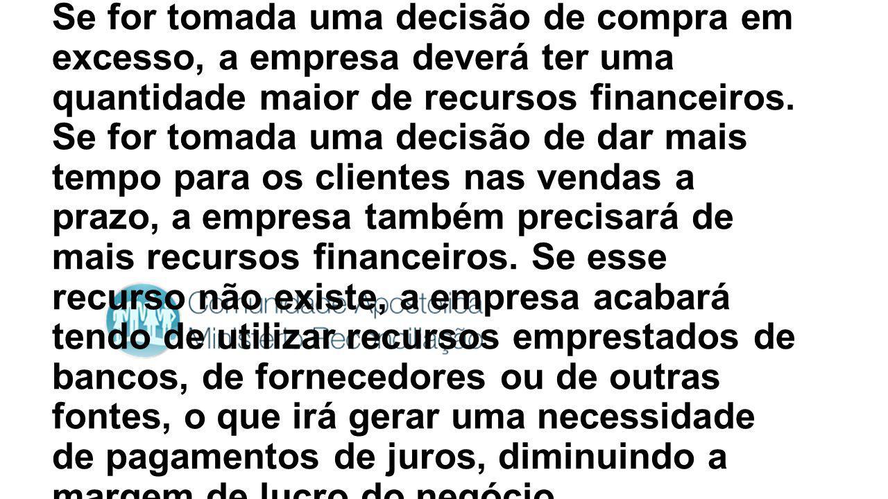 Se for tomada uma decisão de compra em excesso, a empresa deverá ter uma quantidade maior de recursos financeiros.