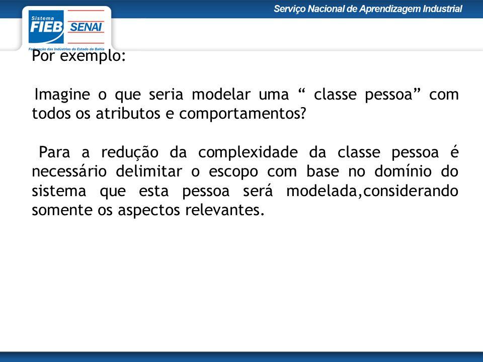 Por exemplo: Imagine o que seria modelar uma classe pessoa com todos os atributos e comportamentos