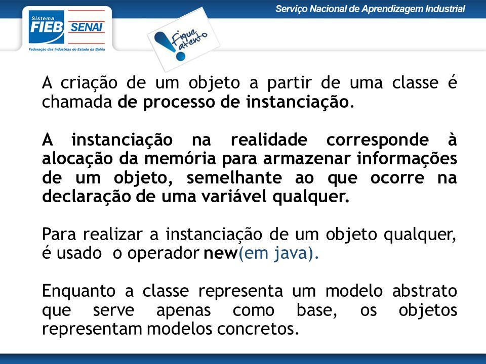A criação de um objeto a partir de uma classe é chamada de processo de instanciação.