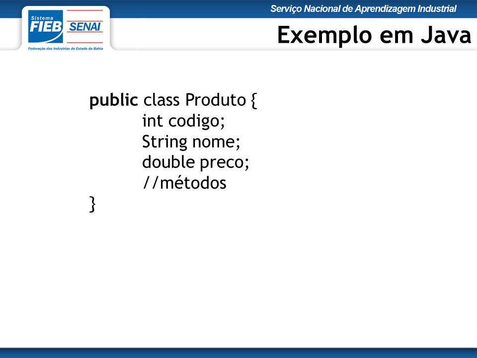 Exemplo em Java public class Produto { int codigo; String nome;