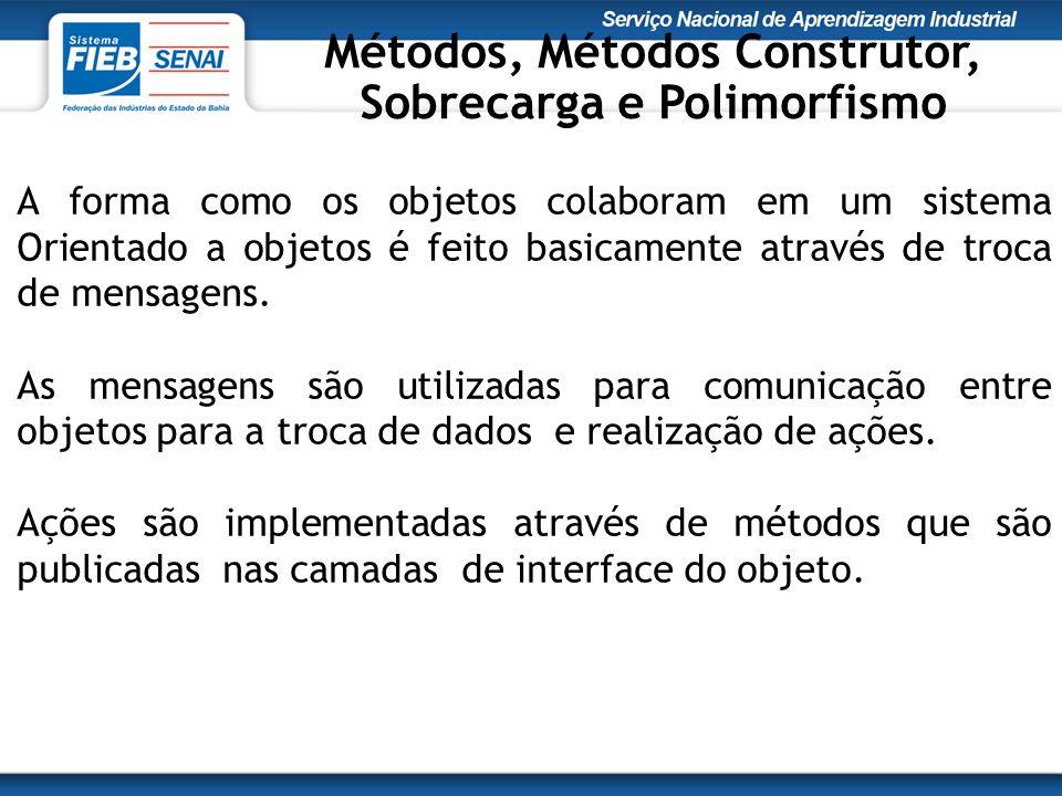 Métodos, Métodos Construtor, Sobrecarga e Polimorfismo