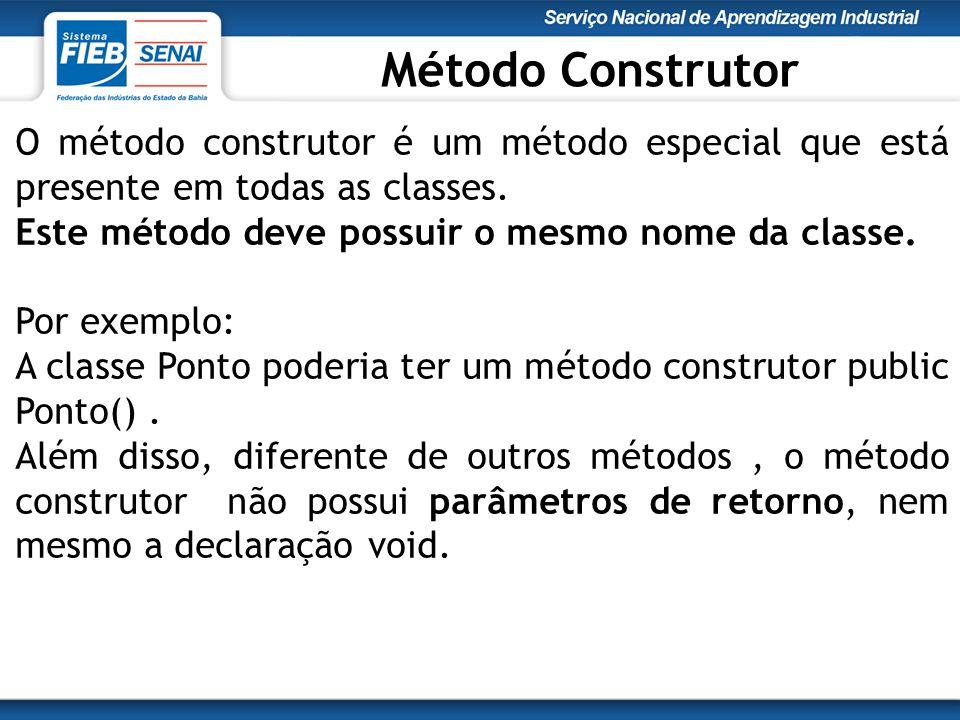 Método Construtor O método construtor é um método especial que está presente em todas as classes. Este método deve possuir o mesmo nome da classe.