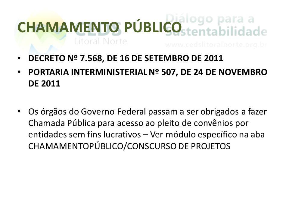 CHAMAMENTO PÚBLICO DECRETO Nº 7.568, DE 16 DE SETEMBRO DE 2011