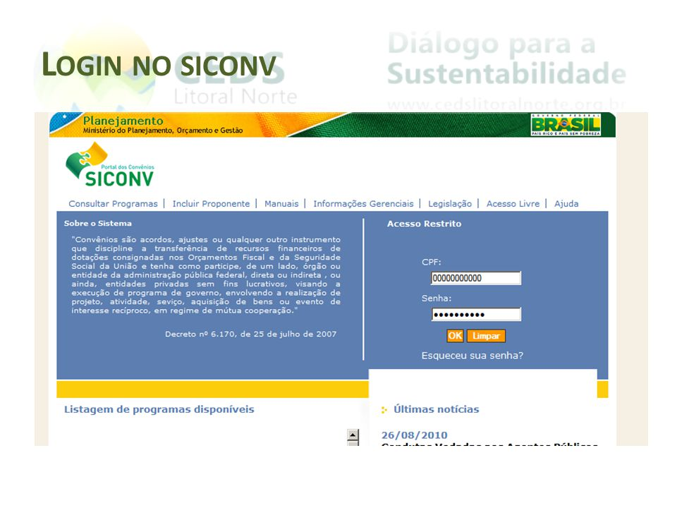 Login no siconv