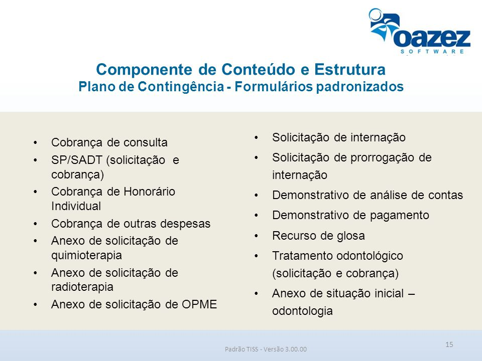 Componente de Conteúdo e Estrutura Plano de Contingência - Formulários padronizados