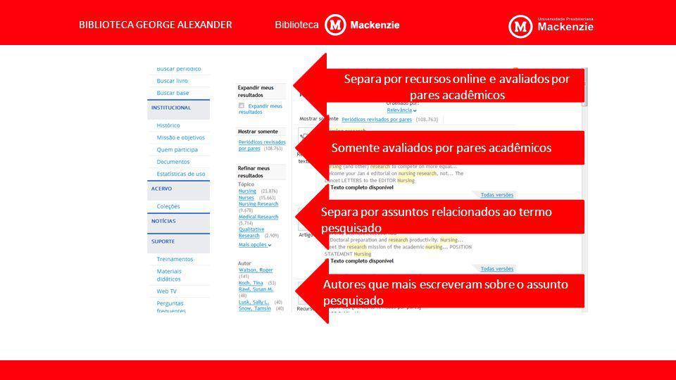 Separa por recursos online e avaliados por pares acadêmicos
