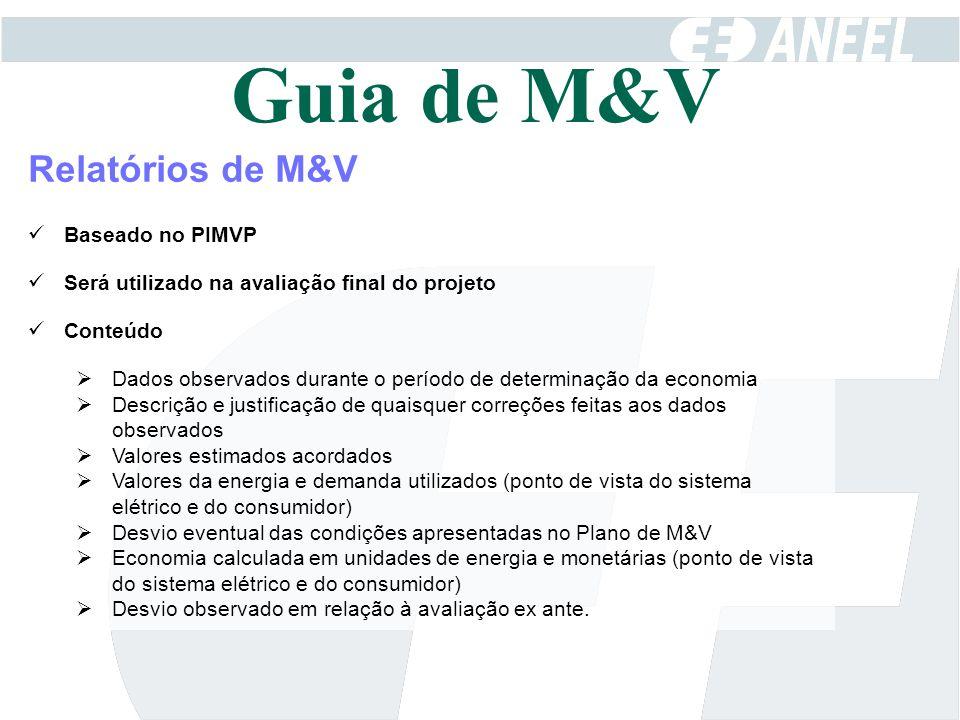 Guia de M&V Relatórios de M&V Baseado no PIMVP
