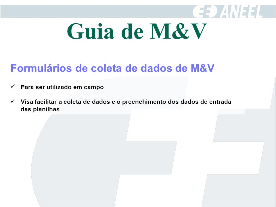 Guia de M&V Formulários de coleta de dados de M&V