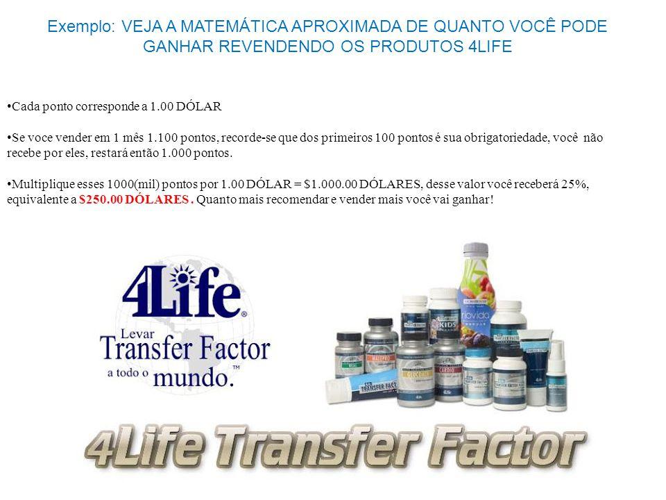 Exemplo: VEJA A MATEMÁTICA APROXIMADA DE QUANTO VOCÊ PODE GANHAR REVENDENDO OS PRODUTOS 4LIFE