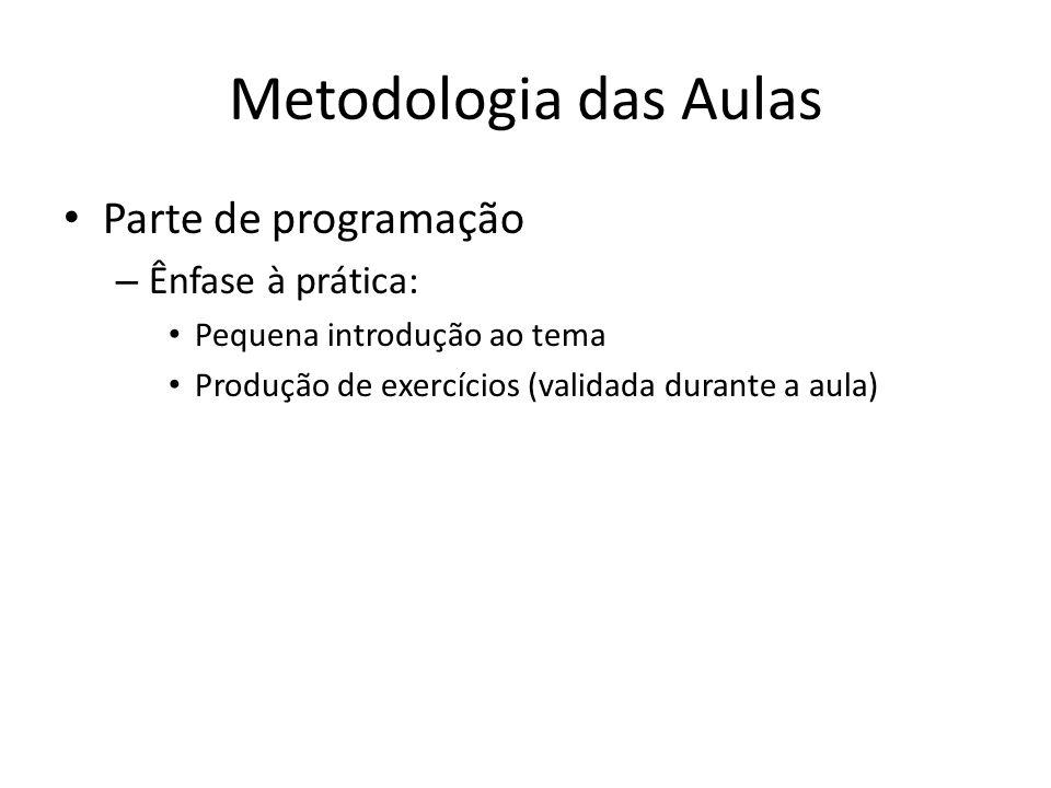 Metodologia das Aulas Parte de programação Ênfase à prática: