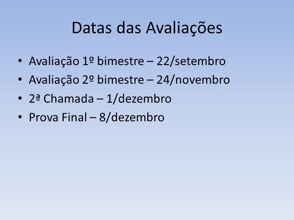 Datas das Avaliações Avaliação 1º bimestre – 22/setembro