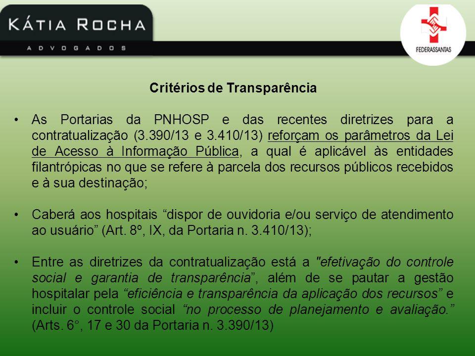 Critérios de Transparência