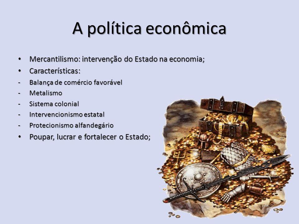 A política econômica Mercantilismo: intervenção do Estado na economia;