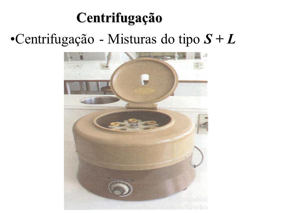 Centrifugação Centrifugação - Misturas do tipo S + L
