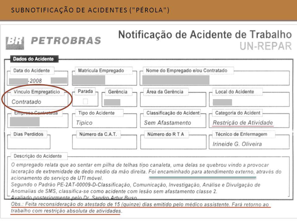 SUBNOTIFICAÇÃO DE ACIDENTES ( PÉROLA )