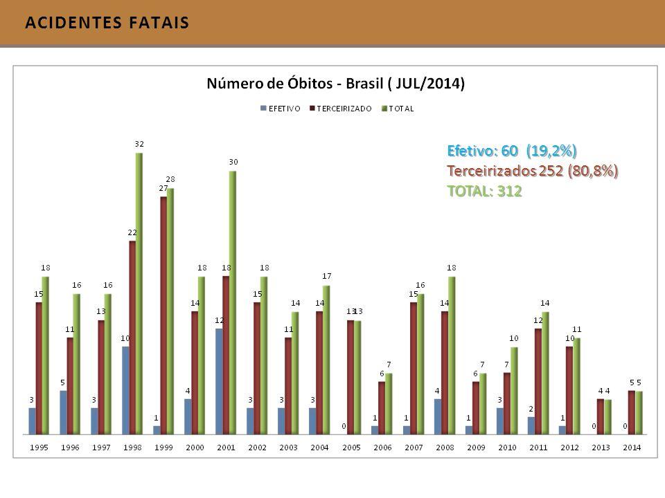 ACIDENTES FATAIS Efetivo: 60 (19,2%) Terceirizados 252 (80,8%)