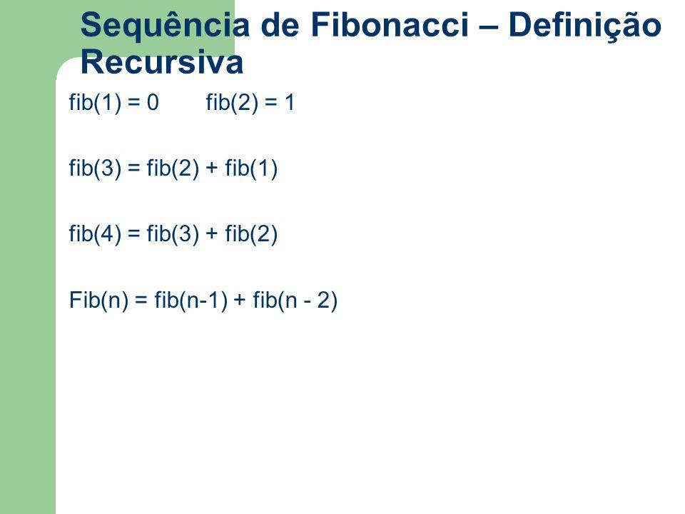 Sequência de Fibonacci – Definição Recursiva