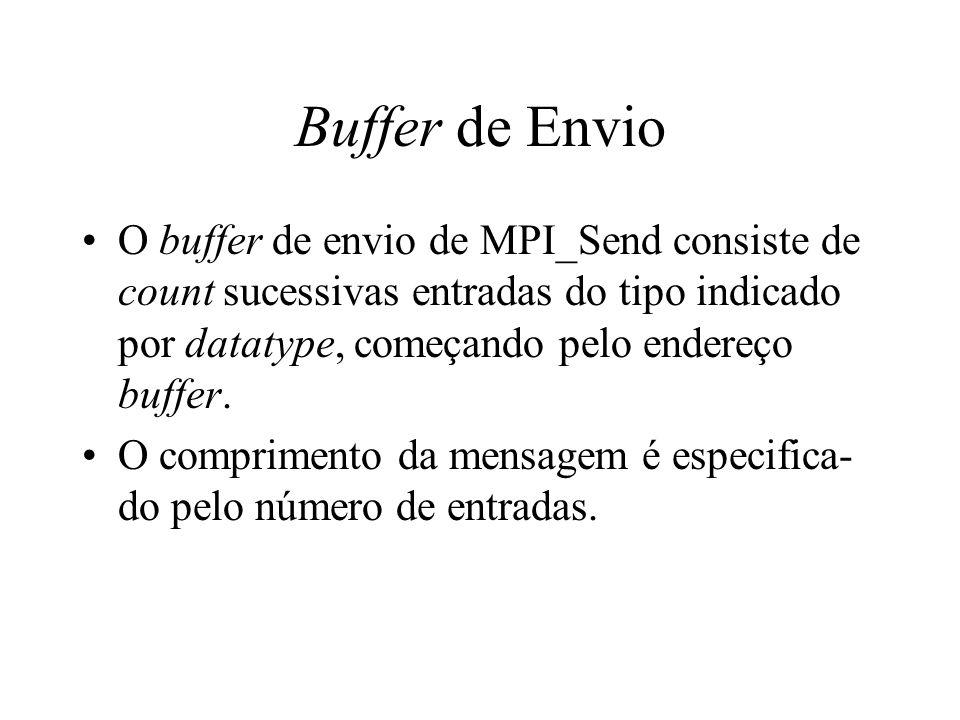 Buffer de Envio O buffer de envio de MPI_Send consiste de count sucessivas entradas do tipo indicado por datatype, começando pelo endereço buffer.