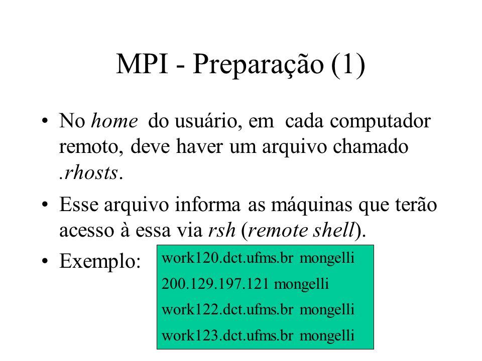 MPI - Preparação (1) No home do usuário, em cada computador remoto, deve haver um arquivo chamado .rhosts.