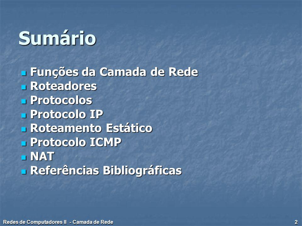 Sumário Funções da Camada de Rede Roteadores Protocolos Protocolo IP