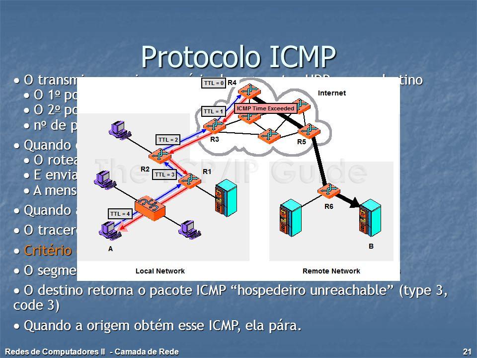 Protocolo ICMP  O transmissor envia uma série de segmentos UDP para o destino.  O 1o possui TTL = 1.