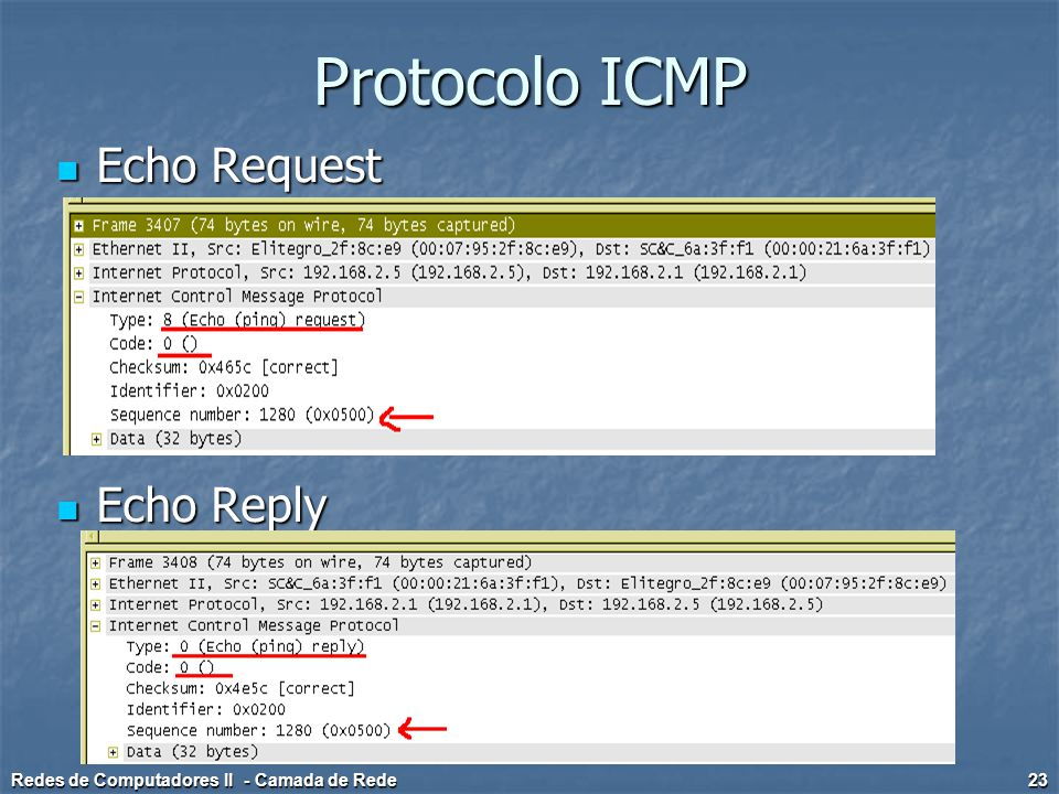 Protocolo ICMP Echo Request Echo Reply