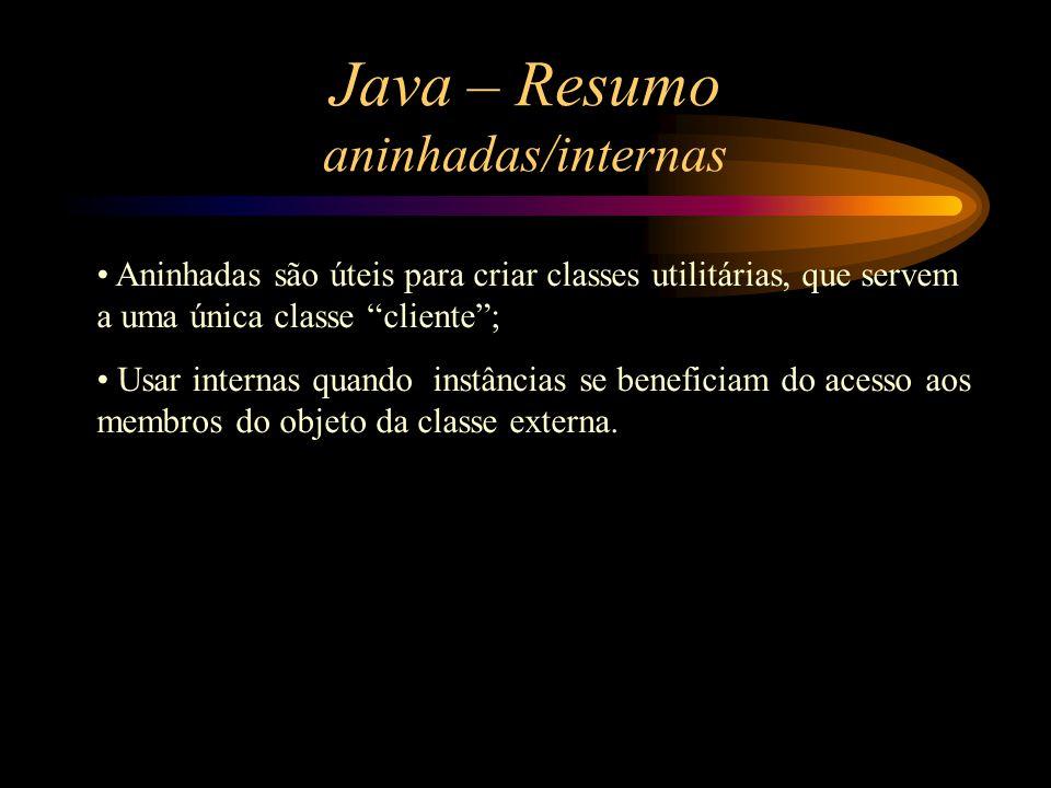 Java – Resumo aninhadas/internas