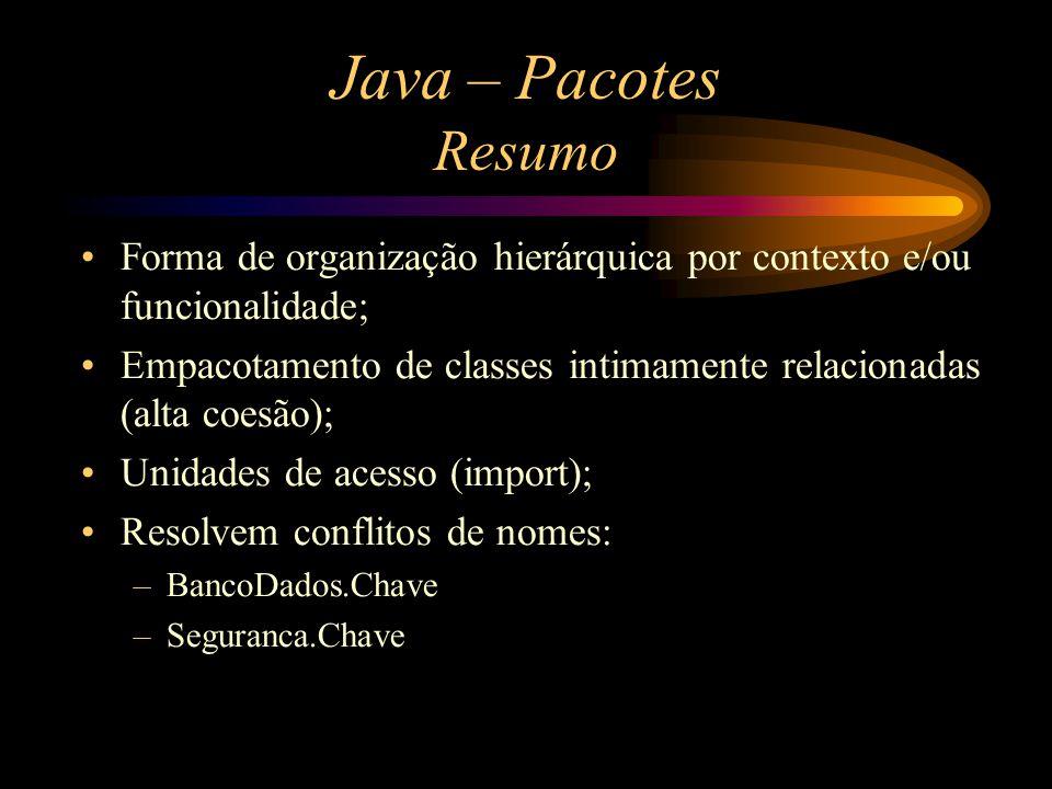 Java – Pacotes Resumo Forma de organização hierárquica por contexto e/ou funcionalidade;