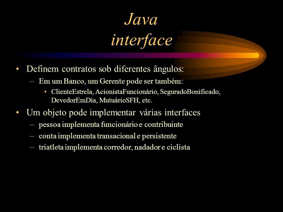 Java interface Definem contratos sob diferentes ângulos: